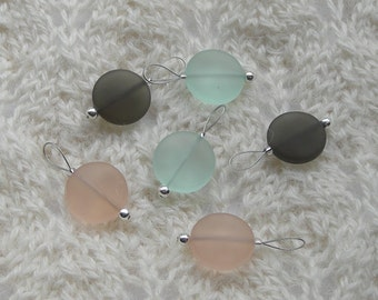 Sea Glass Knitting Stitch Markers - snag free - 15mm peach smoke green sea glass beach glass beads - set of 6 - two loop sizes available