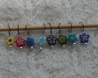 flower knitting stitch markers - snag free - 8mm round multicolor millefiori beads great for sock knitting - three loop sizes available