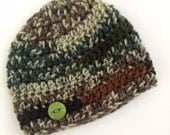Newborn boy 0-3 months baby hat beanie Green brown camo infant hat baby photo prop Ready To Ship