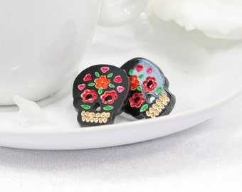 Multicolor Orange and Red Hand-Painted Black Sugar Skull Post Earring