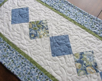 Blue Quilted Patchwork Table Runner, Cottage Chic Quilted Runner,  Floral White Green Quilted Table Runner