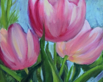 Pink Tulip Floral Still Life, Pink Painting, 9x12 Original Canvas Oil Painting by Cheri Wollenberg