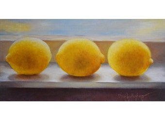 Three Yellow Lemons Kitchen Still Life, 10x20 Canvas Art, Original by Cheri Wollenberg