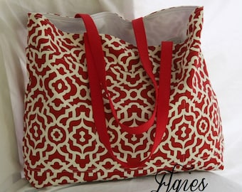Red and White Lattice Geometric Print -Beach Tote- Overnight Bag- 6- Outer Pockets Water and Mildew Resistant Interior