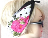 Rose Hair Tie Pink and Polka Dot Print Rockabilly Scarf Wrap by Dolly Cool