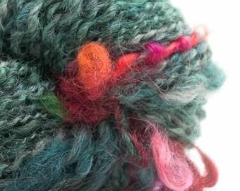 Fantastic Fantaisie, HandSpun Wool and Mohair Yarn, 120 yards, 2 ply, art yarn, accent yarn, set of 3 sisters skeins
