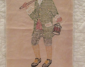 Vintage Cross stitched Lamplighter ready for a frame beautiful SALE