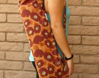 Yoga Mat Bag, Yoga Mat Tote, Yoga Bag, Yoga Tote, Yoga Sling, Yoga Sac, POPPIES Yoga Sack in Rust orange, Handmade, Yoga Carrier,