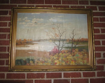 Antique 19c Large Landscape Oil Painting for Repair in Beautiful Carved Frame