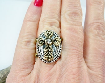 Cross Ring, Stretch Ring, Crystal Statement Ring, Stretch Band Ring, Handmade Ring, Women's Jewelry, Stretch Band Ring
