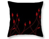 Red And Black Floral Pillow, Red Flowers Art, Home Decor, Minimalism Art, Decorative Throw Pillow, Elegant Decor, Bedroom Couch Cushion