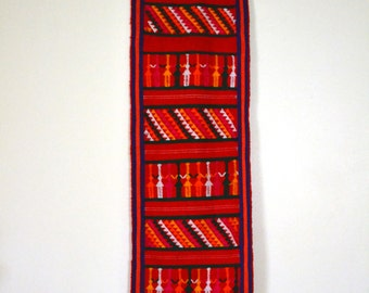 80s Ethnic Wall Hanging Hand Woven Textile Boho Decor