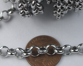3 feet Stainless Steel ROLO Chain Big Chunky Rolo chain Heavy Bracelet Necklace - 5.8mm