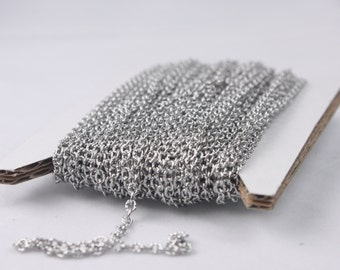 Stainless Steel chain bulk, 10 ft of Stainless Steel Textured Flat Cable Chain - 3x2mm unsoldered link