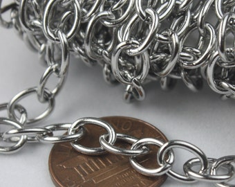 Stainless Steel chain bulk, 3 ft of Surgical Stainless Steel Sturdy Chunky Big Heavy Cable chain - 8x6mm 1.2mm 16G Unsoldered Link