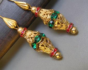 Dangle Earrings . Gold gilt brass filigree rhinestones jewelry