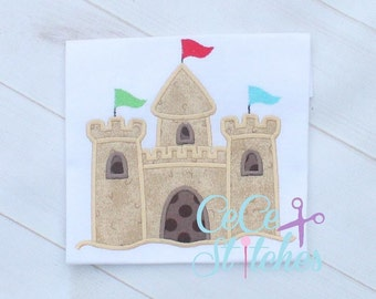 Sand Castle Embroidery Applique Design