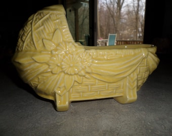 McCoy Pottery Baby carriage cradle bassinet pram yellow Planter bowl flowers basket weave