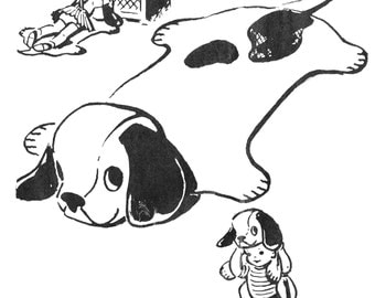Vintage 1950s Puppy Play Rug PATTERN 2606 an Adorable Doggie Rug for children to watch TV on