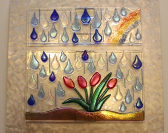 CLEARANCE SALE:  Stained Glass, Fused Glass, Wall Art, Reflective, Iridescent, Colorful, Raindrops, Flowers, Rainbow, Spring