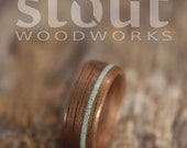 Size 4 - Walnut With Offset Turquoise Inlay Bentwood Ring - Handcrafted Wooden Ring