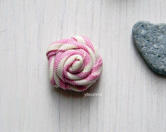 Men lapel pin | Mens lapel flower pink stripes, small and large | Rose boutonniere | Men accessories.