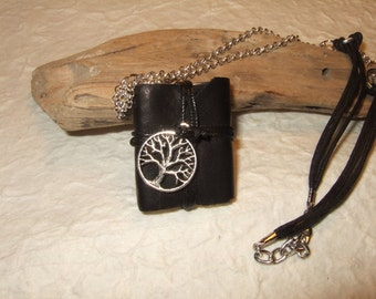 Necklace with handmade leather miniature books