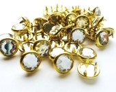 limited edition 24 CLEAR RHINESTONE GOLD rimmed Cowgirl Snaps Pearl Prong Western Snaps