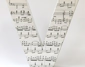 Music letter V - ready to ship - extra large