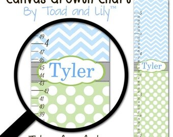 Canvas GROWTH CHART Green and Blue Chevron and Dots Girls Bedroom Baby Nursery Wall Art Personalized Canvas Growth Chart GC0223