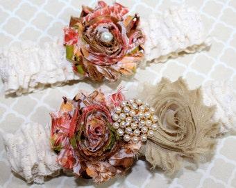 BRIDAL GARTER SET - Orange, Brown, Gold, Ivory Lace Garter, Fall Garter, Autumn Wedding, Pearls, Shabby Flowers, Custom colors available