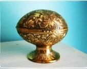 Antique Brass Carved Egg Jewelry Casket Trinket Box Velvet Lined Hollywood Regency Old World Charm