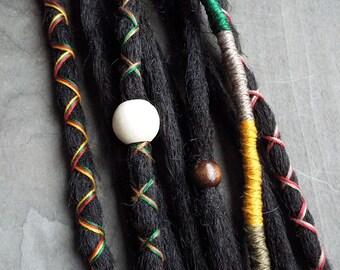 10 Custom Standard *Clip-in Synthetic Dreadlock Extensions Boho Dreads Hair Wraps & Beads (Black)