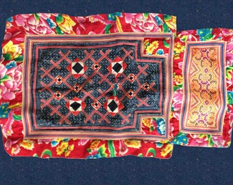 Vintage Hmong Textile Hand Appliqued Embroidered Tribal Fabric Baby Carrier Handmade One of a Kind Red Blue Indigo Orange Summer Sale