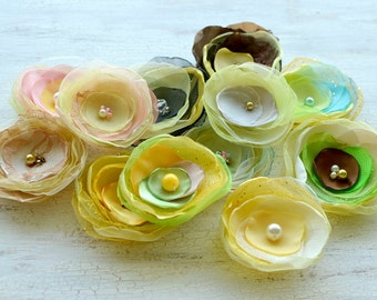 Fabric flower appliques, silk floral embellishments, DIY bridal flower bouquet supplies (12 pcs)- Flowers in Shades of Yellow ( mix set 302)