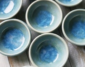Small Ceramic Bowl - Blue Kitchen Prep Bowl in Sea Glass Blue Glaze Stoneware Pottery Great Hostess Gift Ready to Ship Made in USA