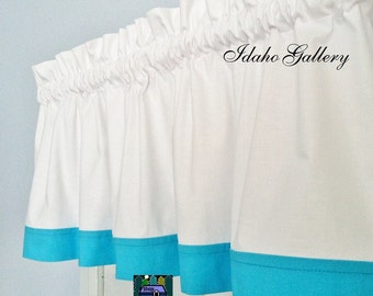 White with Jamaica Blue Trim Window Valance Kitchen Curtain or Bedroom Valance