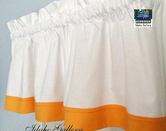 White with Goldfish Orange Trim Window Valance Kitchen Curtain or Bedroom Valance