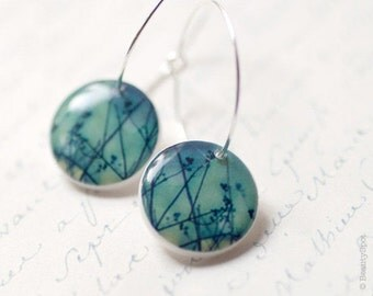 Blue earrings - Tree branches earrings - Winter tree earrings - Photo art jewelry - Winter tree jewelry - Tree branches jewelry (E016)