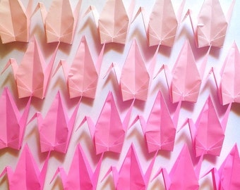100 Large Origami Cranes Origami Paper Cranes - Made of 15cm 6 inches Japanese Paper - 4 Pink Colors