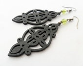 Black Wood Charm Earrings with Olive Green Glass Beads