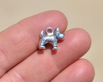 BULK 20  Silver Little Dog Charms SC2843