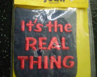 REDUCED Vintage 1970's It's The Real Thing Denim  Iron On Patch GROOVY Still In Package