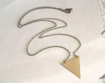 Brass Triangle Necklace Pyramind Necklace Geometric Flag Nekclace Triangle Jewelry