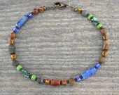 Rustic Tribal Stone Anklet in Lapis, Turquoise, & Jasper, Sizes Small - Large, Unisex Ankle Bracelet, 9, 10, 11, 12, 13, or 14  inch