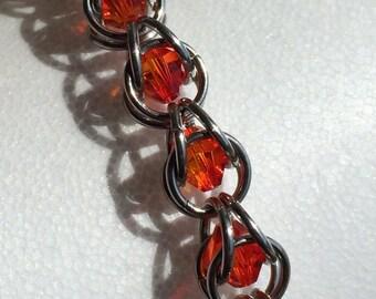 Swarovski Tangerine Crystal Captured Chainmaille Bracelet