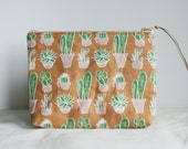 SALE 40% OFF Cactus Patterned Vegan Leather Pouch // adorable cactus printed Kraft fabric zippered clutch, perfect for the beach and festiva