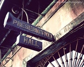 Preservation Hall New Orleans Photograph 8x10 fine art photo print, French Quarter architecture, jazz brown harvest gold, Mardi Gras