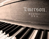 Antique Piano Photograph, Still Life Photography, Sepia, Musical Gift, Calm, Emerson Piano, Piano Art, Living Room Art, Office Decor