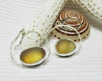 Multi Colored Amber Sea Glass Hoop Earrings, Sterling Silver, Beach Glass